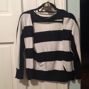 Black & white striped cardigan. Size small